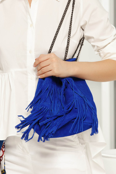 Blue casual bag with fringes long chain handle