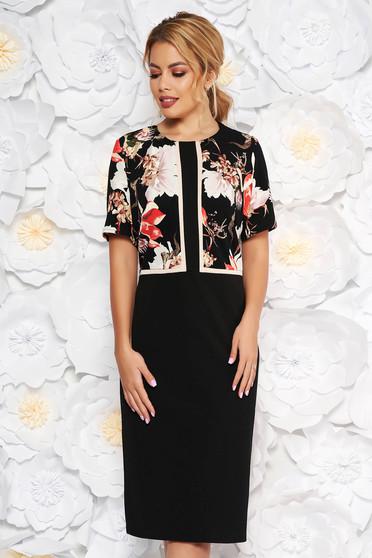 Black elegant midi dress short sleeve slightly elastic fabric without clothing
