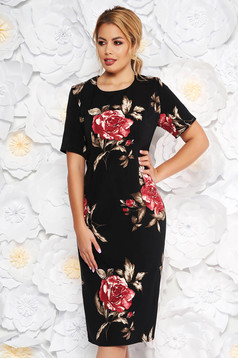 Black elegant dress with tented cut short sleeve soft fabric with floral prints