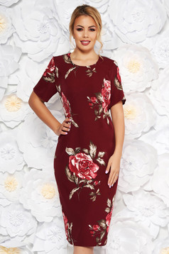 Burgundy elegant dress with tented cut short sleeve soft fabric with floral prints