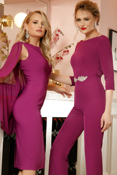 PrettyGirl purple occasional pencil dress sleeveless with crystal embellished details