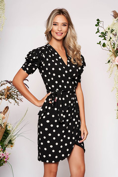PrettyGirl black daily dress with tented cut with puffed sleeves soft fabric with dots print