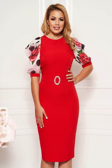 PrettyGirl red elegant pencil dress with pearls accessorized with tied waistband