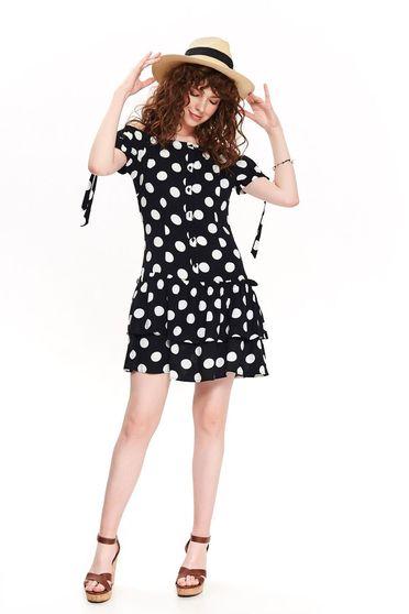Top Secret black daily cloche dress short sleeve off shoulder thin fabric dots print