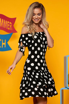 Top Secret black daily cloche dress short sleeve off shoulder thin fabric dots print