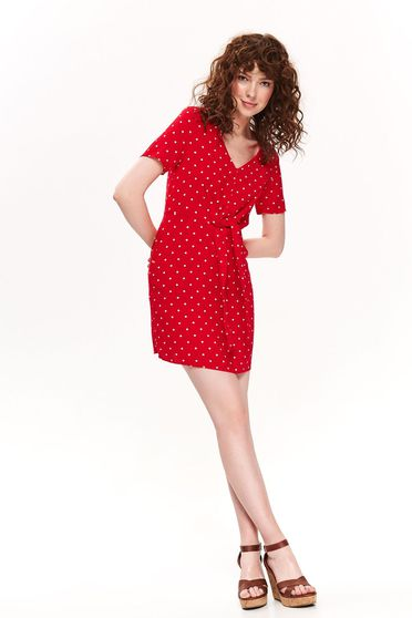 Top Secret red daily a-line dress short sleeve with v-neckline airy fabric dots print