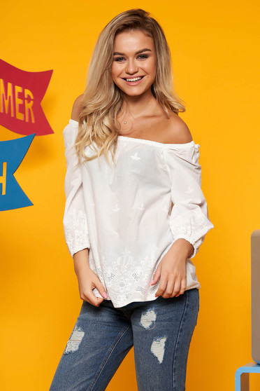 Top Secret white flared women`s blouse nonelastic cotton with 3/4 sleeves