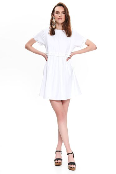 Top Secret white daily flared dress bareback thin fabric