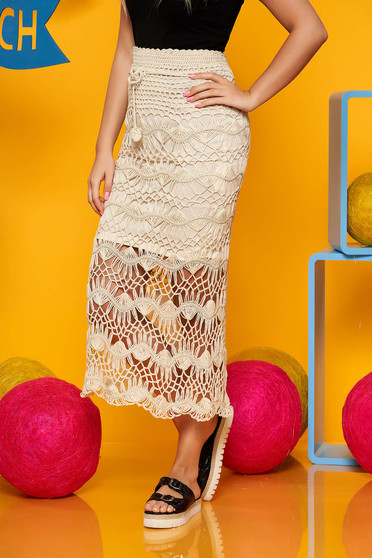 Top Secret peach midi high waisted skirt knitted fabric with inside lining
