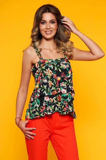 Black women`s blouse casual with floral print with ruffle details