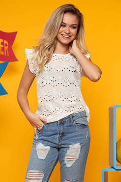 Top Secret white casual flared women`s blouse nonelastic cotton
