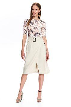 Top Secret peach high waisted straight midi skirt accessorized with tied waistband
