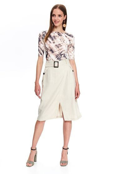 Top Secret peach high waisted straight midi skirt accessorized with tied waistband