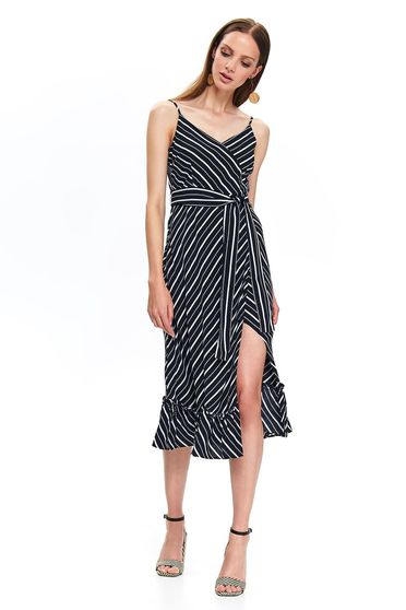 Top Secret black daily cloche dress accessorized with tied waistband with v-neckline