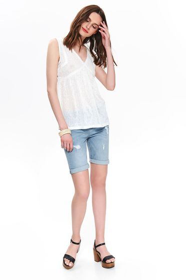 White top shirt casual sleeveless with v-neckline flared