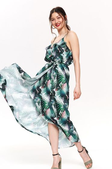 Top Secret green daily asymmetrical cloche dress with straps with v-neckline is fastened around the waist with a ribbon