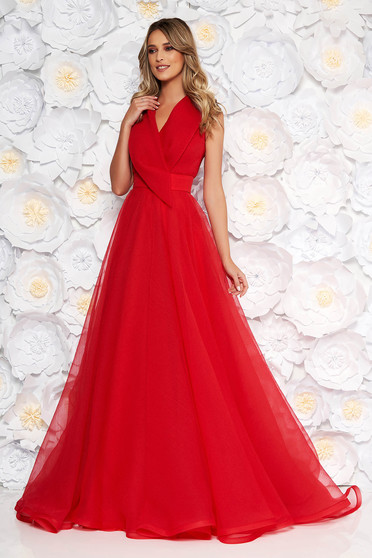 Ana Radu red occasional long cloche dress with v-neckline sleeveless
