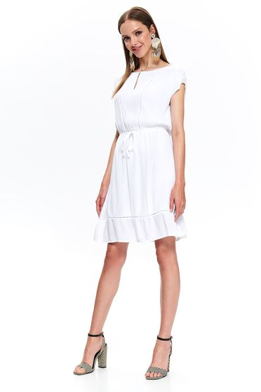 Top Secret white daily cloche dress airy fabric is fastened around the waist with a ribbon with ruffles at the buttom of the dress