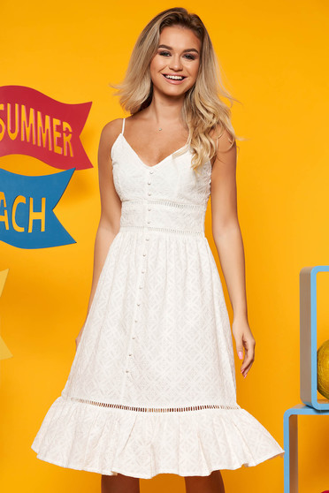 Top Secret white daily cotton cloche dress with v-neckline with ruffles at the buttom of the dress