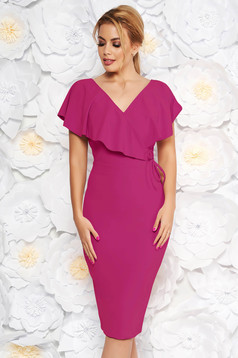 StarShinerS burgundy elegant pencil dress from elastic fabric with v-neckline