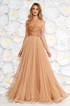 Ana Radu brown luxurious dress from tulle with inside lining with push-up cups off shoulder