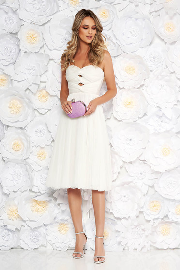 Ana Radu white dress occasional from tulle with inside lining corset