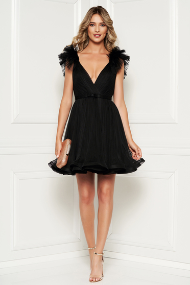 Ana Radu black luxurious cloche dress from tulle with inside lining with deep cleavage
