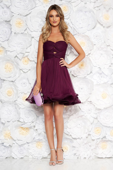 Ana Radu purple luxurious dress from tulle with inside lining cloche