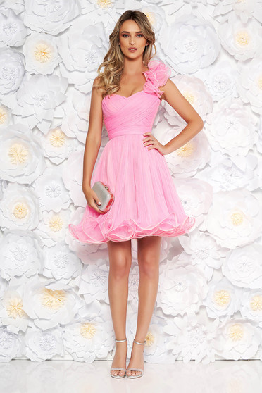 Ana Radu pink occasional corset cloche dress from tulle with push-up cups accessorized with tied waistband