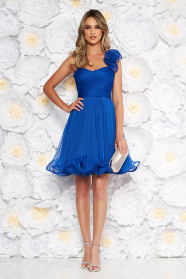 Ana Radu blue occasional corset cloche dress from tulle with push-up cups accessorized with tied waistband