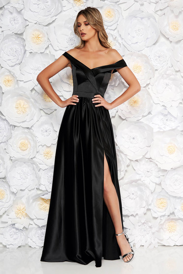Artista black occasional long cloche dress sleeveless off shoulder from satin fabric texture
