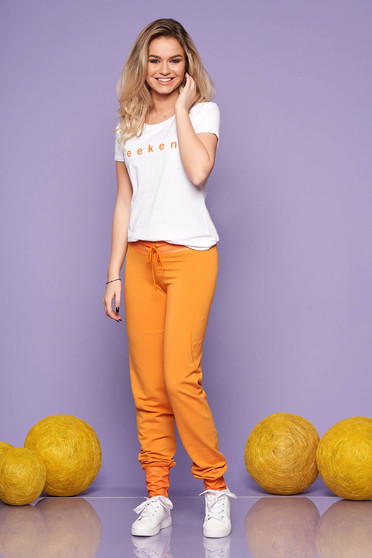 SunShine mustard casual lady set from 2 pieces with trousers from elastic cotton