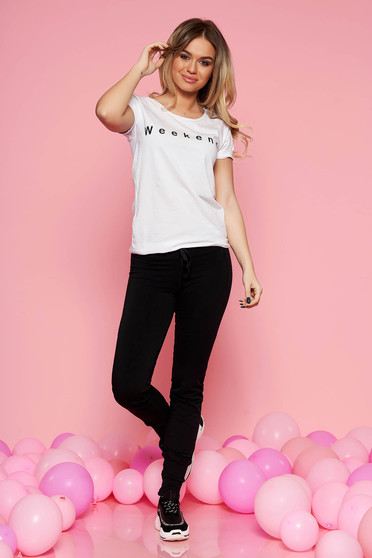 SunShine black casual lady set from 2 pieces with trousers elastic cotton