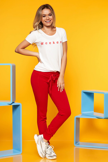 SunShine red casual lady set from 2 pieces with trousers elastic cotton