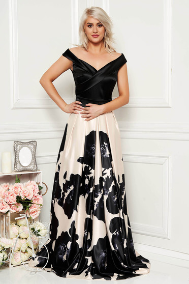 Artista black occasional long cloche dress off shoulder from satin fabric texture