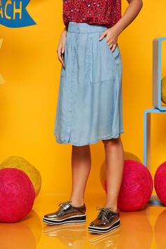 Lightblue skirt casual cloche high waisted denim with elastic waist