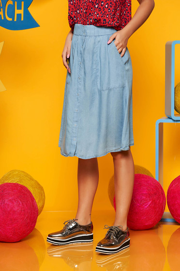 Lightblue skirt casual cloche high waisted denim with elastic waist