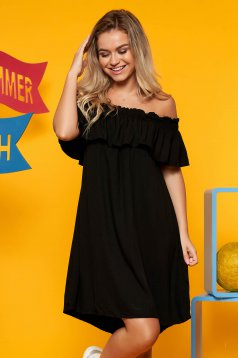 Top Secret black daily flared dress off shoulder airy fabric frilly trim around cleavage line