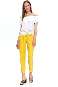 Top Secret white casual flared women`s blouse off shoulder airy fabric with ruffles on the chest