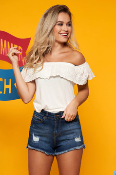 Top Secret white casual off shoulder flared women`s blouse airy fabric frilly trim around cleavage line