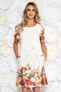 White elegant daily short cut dress short sleeves with bow accessories with pockets