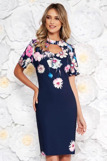Darkblue elegant pencil dress short sleeve slightly elastic fabric cut-out bust design