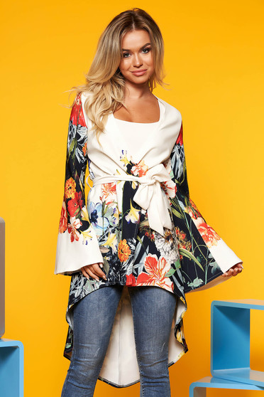 White casual asymmetrical women`s blouse long sleeve thin fabric with floral print