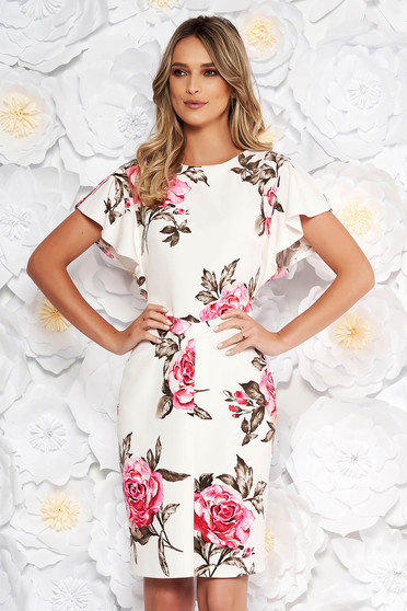 White elegant pencil dress short sleeve soft fabric with floral prints