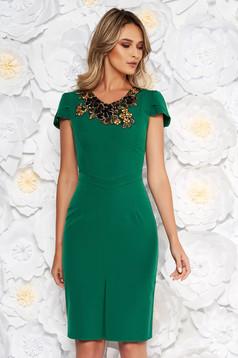 Green elegant pencil dress slightly elastic fabric handmade applications