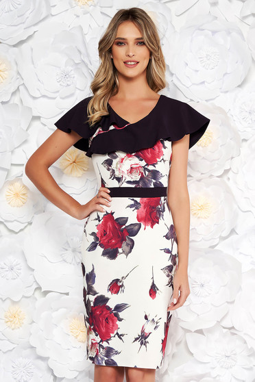 Purple elegant pencil dress from elastic fabric with floral prints frilly trim around cleavage line