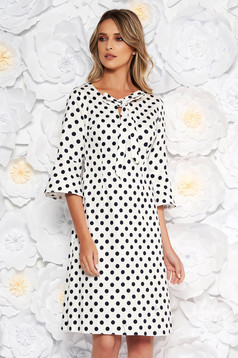 White daily a-line dress with bell sleeve thin fabric dots print