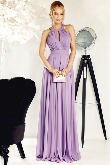 Fofy lila occasional long cloche dress from veil fabric cut-out bust design