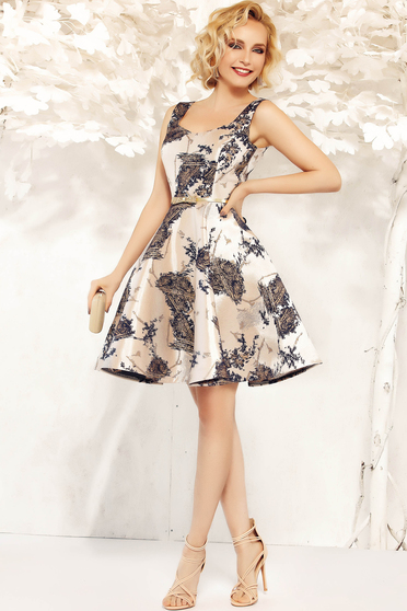 Fofy gold occasional sleeveless cloche dress from satin fabric texture