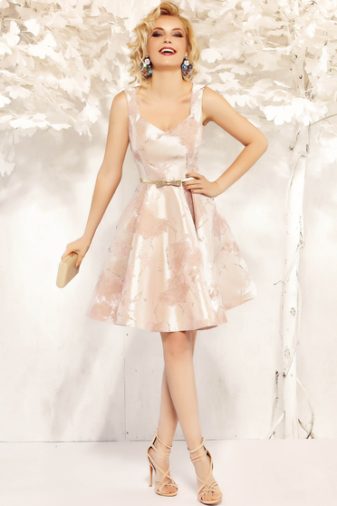 Fofy lightpink occasional sleeveless cloche dress from satin fabric texture